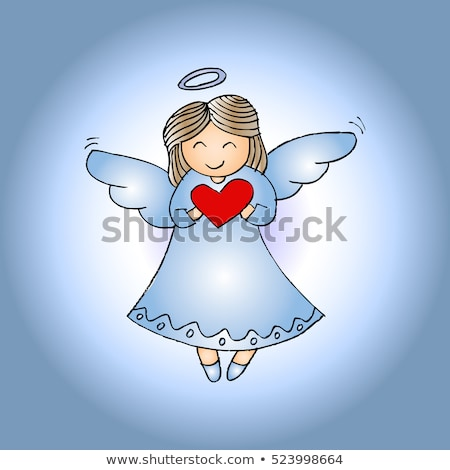 Angel with Heart, Winged Girl with Smile on Face Stock photo © robuart