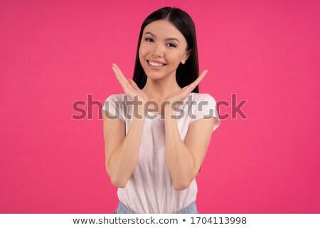 Portret przyjemny patrząc brunetka kobiet Zdjęcia stock © vkstudio