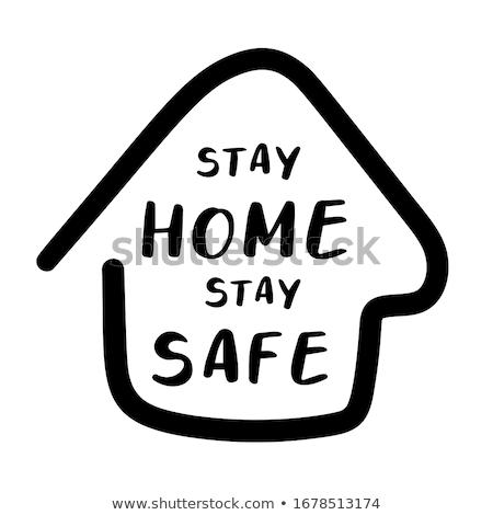 Blijven home social media banner coronavirus het voorkomen Stockfoto © Andrei_