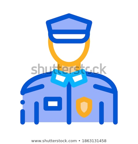 Rendőr rendőrség öltöny ikon skicc illusztráció Stock fotó © pikepicture
