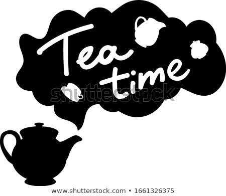 Positif affiche thé temps originale dessinés à la main Photo stock © barsrsind