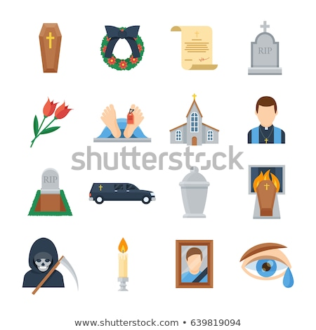 Funeral service icons set Stock photo © ayaxmr