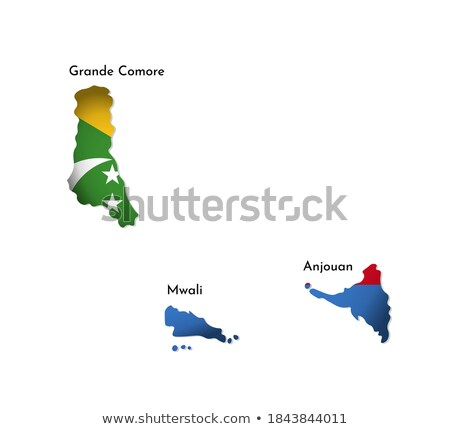 Comoros flag and hand on white background. Vector illustration Stock photo © butenkow