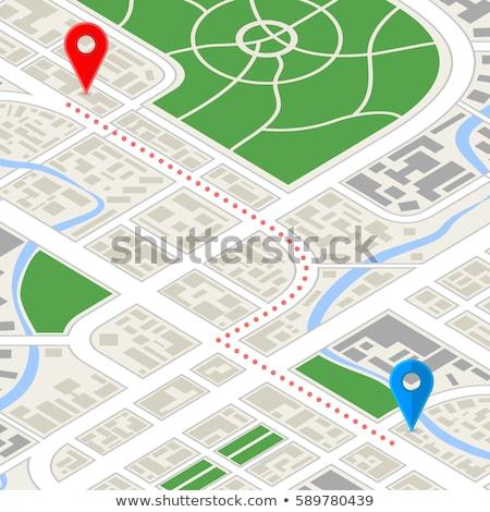 Részletes város térkép GPS útvonal izometrikus Stock fotó © evgeny89