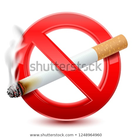 No smoking forbidden sign, realistic cigarette with smoke on white. Stock photo © evgeny89