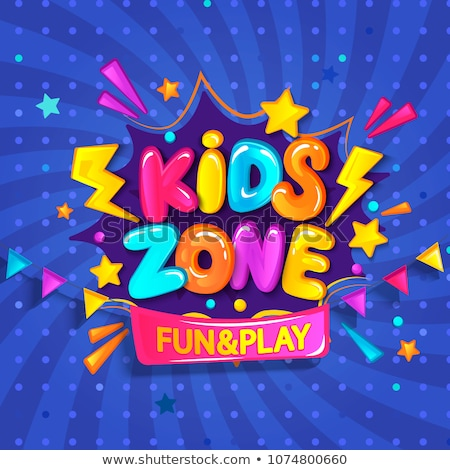 Banner for kids party in cartoon style with background. Place for fun and play Stock photo © natali_brill