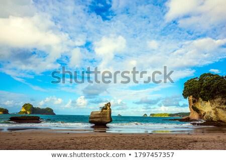 Ondas rochas praia pôr do sol praia tropical férias Foto stock © dmitry_rukhlenko