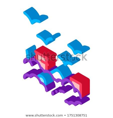 Bâtiment smog oiseaux isométrique icône vecteur Photo stock © pikepicture