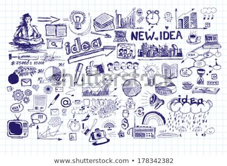 businessman drawing a creative idea sketch Stock photo © ra2studio