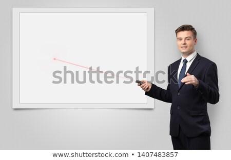 Geschäftsmann Laser Kopie Raum weiß Tafel jungen Stock foto © ra2studio