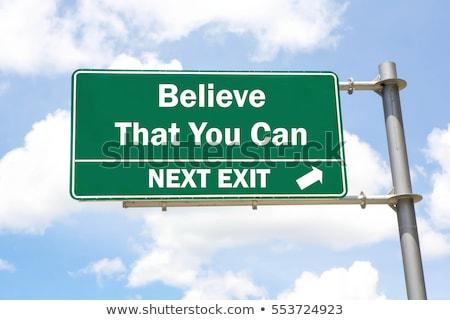 Green Road Sign - Believe in yourself! Stock photo © kbuntu