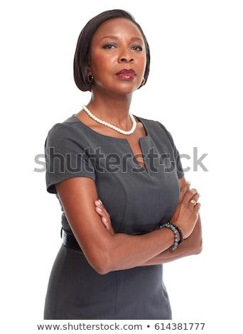 grave · negro · mujer · de · negocios · escritorio · jóvenes · mujer · de · negocios - foto stock © darrinhenry