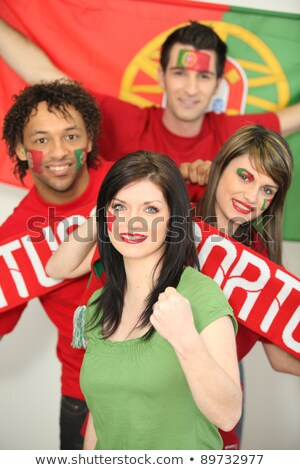 Group of friends supporting the Portuguese football team Stock photo © photography33