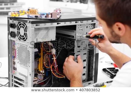 Foto stock: Homem · computador · teclado · trabalhando · secretária