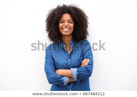 retrato · jovem · belo · feliz · mulher · isolado - foto stock © artjazz