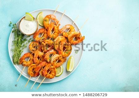 plaque · grillés · crevettes · déjeuner · bbq · repas - photo stock © M-studio