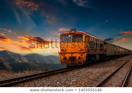 Diesel train locomotive nature paysage blé Photo stock © remik44992