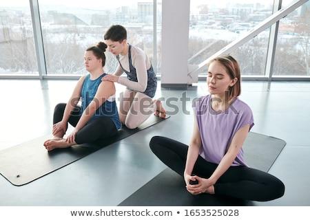 iş · kadını · yoga · siyah · takım · elbise · egzersiz · beyaz · iş - stok fotoğraf © courtyardpix