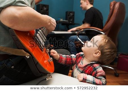 Vader zoon muziek repetitie glimlach gelukkig kind Stockfoto © photography33