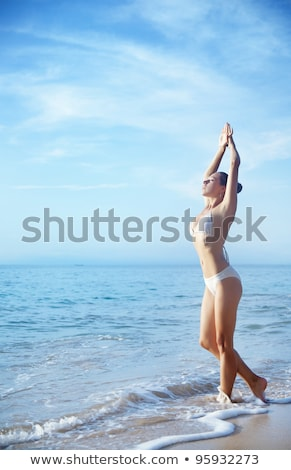 Foto stock: Mulher · branco · biquíni · calcinhas · quadro · nu