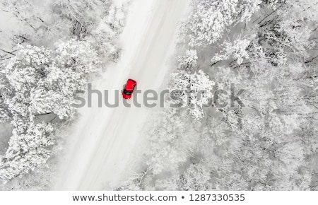 snow covered red car stock photo © saje