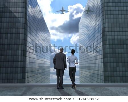光 · 平面 · 着陸 · 空港 · カリフォルニア - ストックフォト © photography33