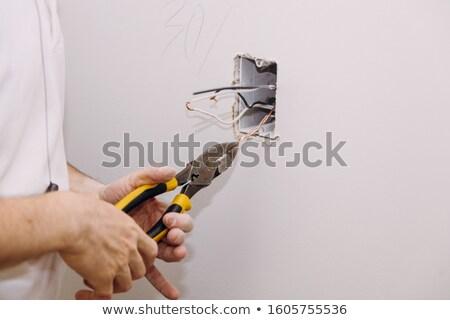 Gipsplaten onlangs gedekt gesneden sanitair elektrische Stockfoto © lisafx