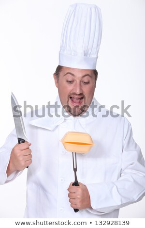 Chef about to carve a polystyrene box Stock photo © photography33