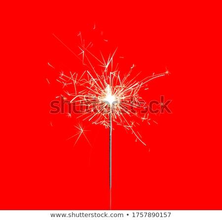 фейерверк бенгальский огонь красный красивой фон оранжевый Сток-фото © ozaiachin