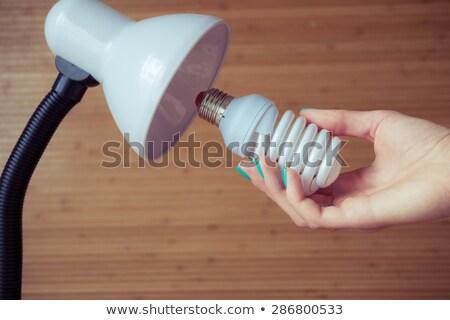kompakt · fluoreszkáló · villanykörte · izzó · gazdag · zöld - stock fotó © sidewaysdesign