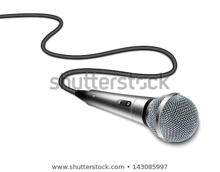 preto · microfone · arame · isolado · branco · tecnologia - foto stock © shutswis