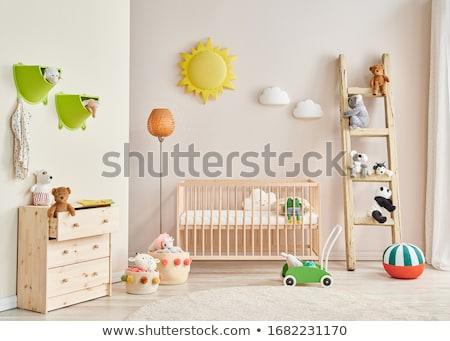 Baby wieg kind groene bed speelgoed Stockfoto © cheyennezj