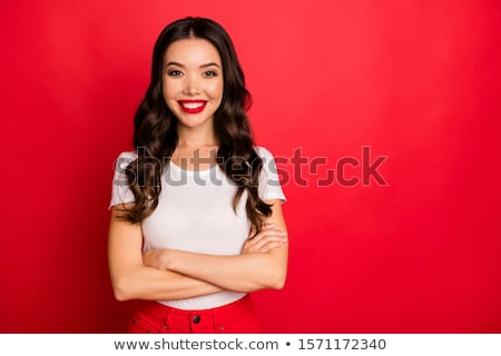 Asya kız kırmızı moda genç Stok fotoğraf © KMWPhotography