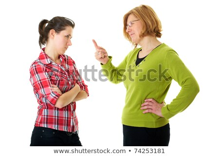 mother warn her daughter for bad behavior isolated on white stock photo © dacasdo