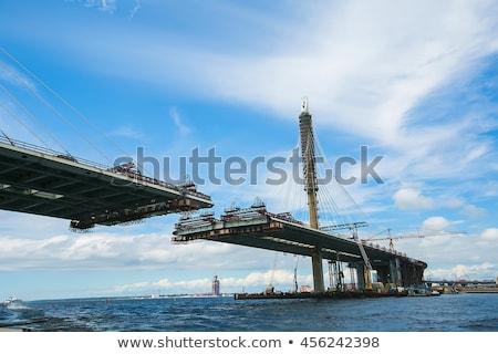 железная дорога моста строительство Открытый Blue Sky пейзаж Сток-фото © ABBPhoto