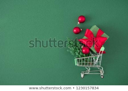 Noel alışveriş sepeti parti imzalamak mavi kırmızı Stok fotoğraf © myimagine