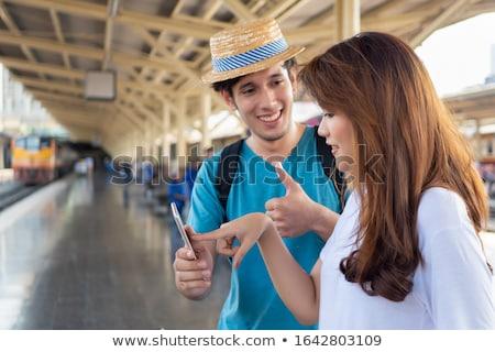 外国の 観光客 座って シルエット 画像 雲 ストックフォト © jrstock