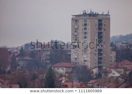 Típico Sérvia triste edifício casa janela Foto stock © dinozzaver