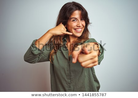 hívj · fel · kép · szőke · nő · készít · kézmozdulat · nő - stock fotó © moses