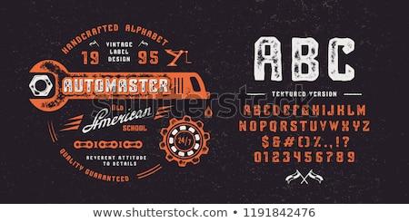 старые печати тип шрифт древесины вертикальный Сток-фото © ABBPhoto
