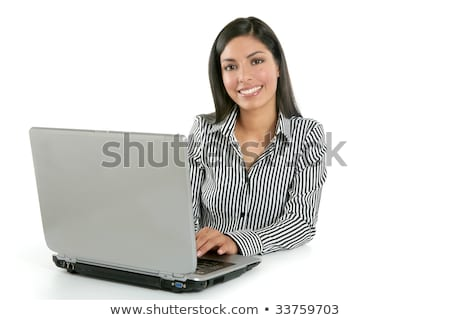 Beautiful indian brunette businesswoman laptop stock photo © lunamarina