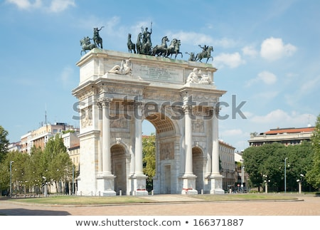 Arch Of Peace On Blue Sky Milan Italy Stock photo © NiroDesign