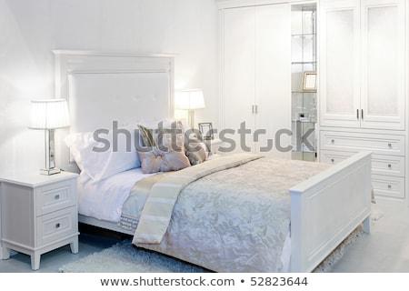 elegante · blanco · dormitorio · doble · cama · casa - foto stock © get4net