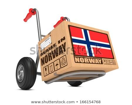 Noorwegen hand vrachtwagen vlag leuze Stockfoto © tashatuvango