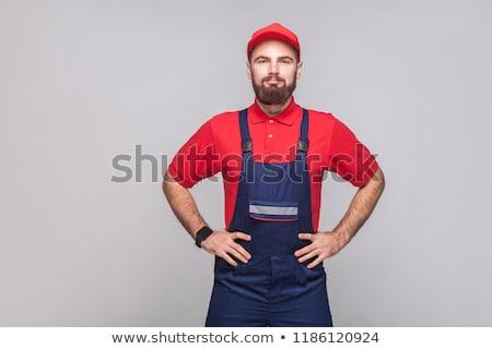 Artesão posando mãos sorrir serviço capacete Foto stock © photography33