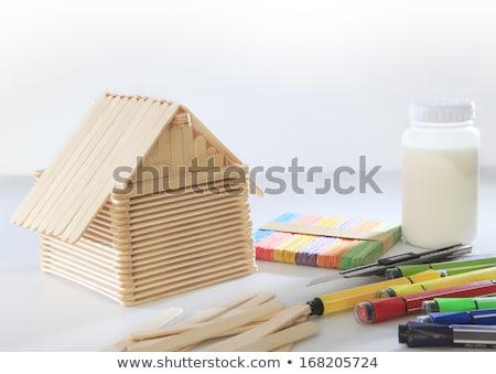 Model house made of wooden sticks Stock photo © deyangeorgiev