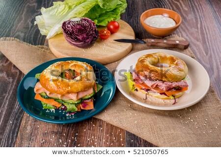 Turkey and Bacon Bagel Sandwich Stock photo © Frankljr