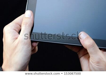 Hand tablet sluiten man Stockfoto © jackethead
