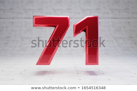 Red number 71 with reflection on a white background Stock photo © Zerbor