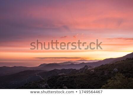 Lila hajnal sapka Korzika égbolt fények Stock fotó © Joningall
